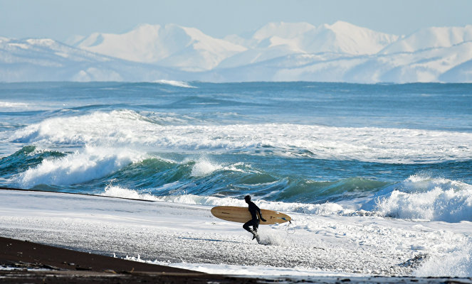 Winter surfing on Russia's Pacific Coast.