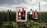 Mari people in the Ural region wearing traditional costumnes